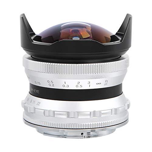 ROMACK Lente de cámara sin Espejo con optimización de Imagen de Ojo de pez, para Z6 Z7 Z50(Plata)