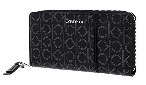Calvin Klein Zip Around Wallet Piping L Black Mono Mix