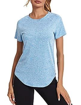Wayleb T-Shirt de Sport Femme à Manches Courtes Doux Tee Shirt de Yoga Femme Été Col Rond T-Shirts et Tops Sport Femme Respirant Séchage Rapide pour Running Jogging Fitness Bleu Clair XXL