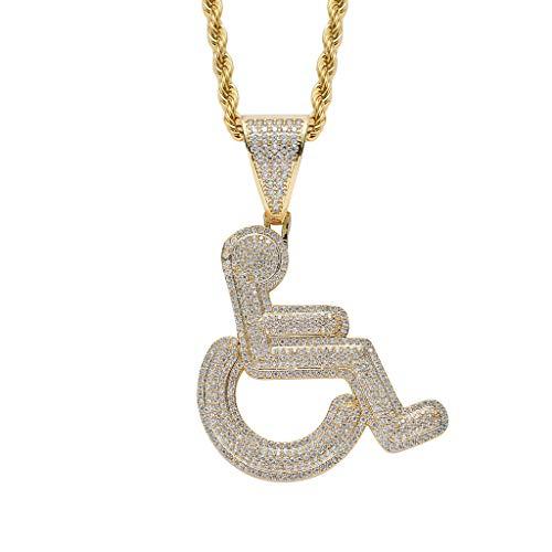 Moca Schmuck Iced Out Behinderte Rollstuhl Logo Anhänger Halskette 18 Karat Vergoldet Bling CZ Simulierte Diamant Hip Hop Rapper Kette Halskette Für Männer Frauen (gold)