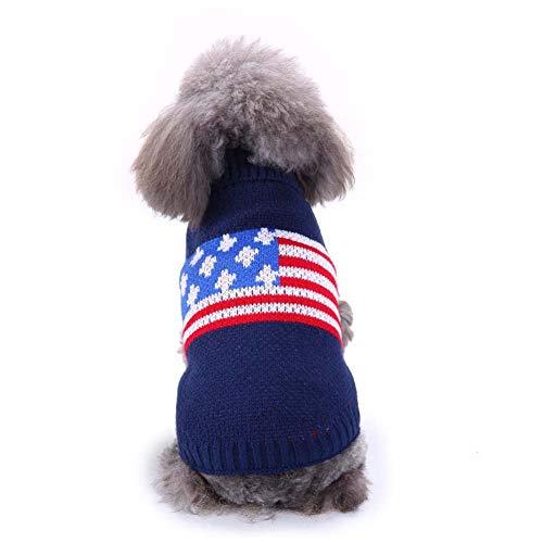 KSITH huisdier hond kleding trui botten gestreepte coltrui kleding kerst sneeuwvlok herfst en winter hond trui, XXL, H