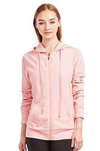 Sofra Women's Thin Cotton Zip Up Hoodie Jacket (M, Peach)