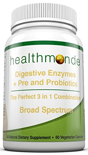 Digestive Enzymes Probiotic and Prebiotic Complex - with Amylase, Bromelain and Lactase - Natural Vegetarian Capsules - Improves Digestion and Absorption - Relieves Gas and Bloating (1)