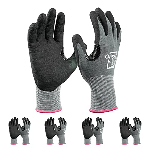 OriStout Safety Work Gloves with Grip (4 Pairs), Touchscreen, Breathable Micro Foam Nitrile Coated Gloves for Warehouse, Automotive, Construction, Gardening,Retail|X-Small, Size 6