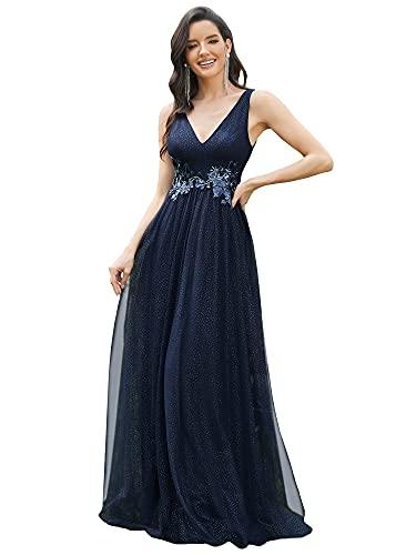 Ever-Pretty Vestido de Fiesta Largo Mujer Tul Lentejuelas Corte Imperio Apliques Escote V A-línea Azul Marino 36