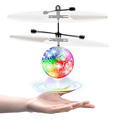 kizplays Flying Ball with Remote Control, LED Luminous Helicopter, Safe Palm Drone Infrared Sensor, Indoor and Outdoor, Family and Boys and Girls Toys from Kizplays