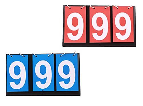 LXLUOO Pizarra de visualización deportiva, 2 unidades, portátil, color rojo y azul, para béisbol, fútbol, voleibol, baloncesto, tenis, rugby