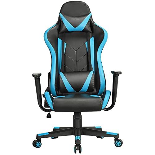 Yaheetech Gaming Stuhl Bürostuhl Ergonomisches Design Drehstuhl Sportsitz Chefsesse mit Wippfunktion Gamer Stuhl Höhenverstellbarer Kunstleder Racingstuhl (Schwarz-neonblau)