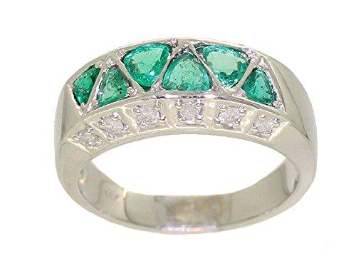 1.20ct Colombiano smeraldo e diamante anello in oro bianco 14K