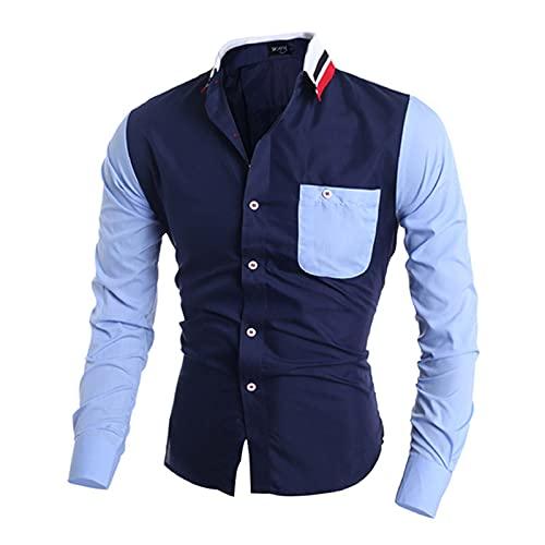 Camisa de Hombre Costura de Color a Juego Tendencia Solapa Moda Streetwear Casual All-Match Commuter Camisa de Manga Larga con Bolsillos L