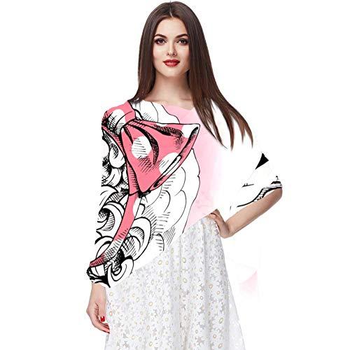 Aquarelle motif floral semless avec cerf mignon translucide léger respirant mousseline de soie pure petite taille WomenChâles