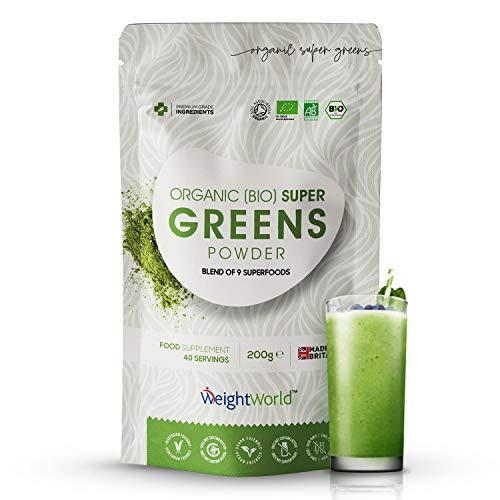 BIO Super Greens Pulver - 200g veganes Superfood Smoothie Pulver - Mit Leinsamen, Maca, Matcha, Baobab, Chlorella & Weizengras - 40 Portionen - Green Protein Shake Komplex - Von WeightWorld