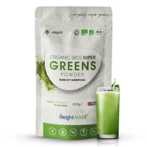Bio Green Superfood Powder da 200g - Mix di 9 Superfood - Polvere Biologica Vegan - Integratore Verde Vegan - Multivitaminico e Minerali - Certificato dalla Soil Association - Senza Glutine&Lattosio