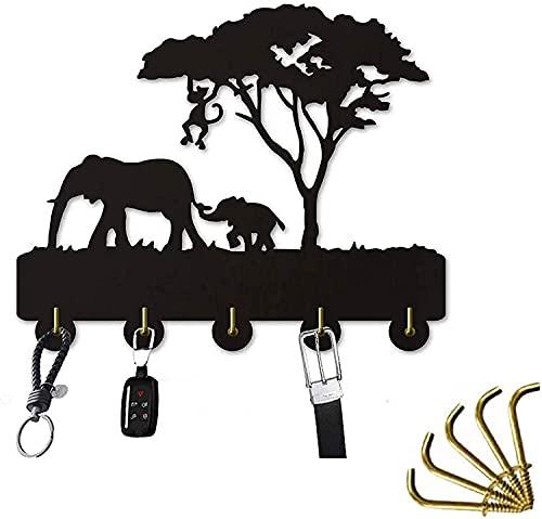 Llavero de pared de vida silvestre africana, 33 cm con 5 ganchos para llaves de coche o casa, percha decorativa de animales de safari fácil de montar para entrada, sala de estar, cocina (negro)