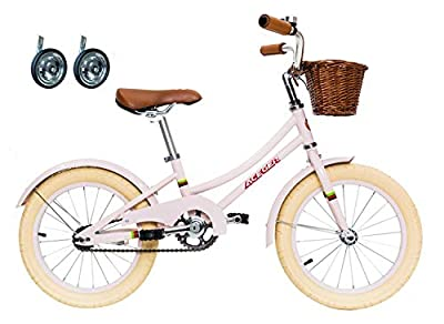 ACEGER Girls Bike with Basket for Kids 3 to 5 Years Old, 14 inch with Training Wheels and NO Kickstand (Pink, 14 inch)