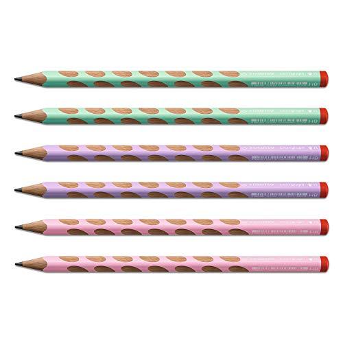 Ergonomische driehoekige potlood voor rechtshandigen - STABILO EASYgraph in pastelgroen, pastelroze, pastelpaars - hardheid HB - set van 6