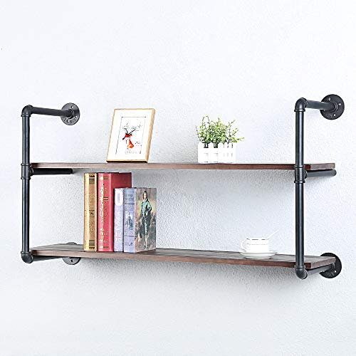 Industrial Pipe Shelving Wall Mounted,Rustic Metal Floating Shelves,Steampunk Real Wood Book Shelves,Wall Shelf Unit Bookshelf Hanging Wall Shelves,Farmhouse Kitchen Bar Shelving(2 Tier,42in)