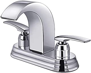 Bathroom Faucet, Widespread Bathroom Sink Faucet with Two Handles Chrome Finish, Hot/Cold Water Mixer Waterfall Basin Faucet Perfect for 3 Holes Sink by Aposhion (4 inch complete sink)