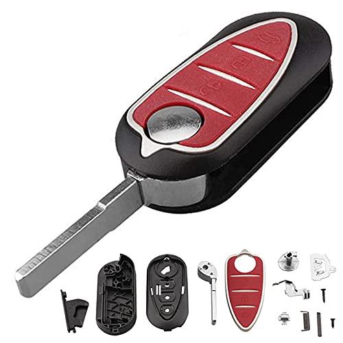 Funda para llave de coche de 3 botones sin cortar, plegable y abatible para Alfa Romeo Mito Giulietta 159 GTA