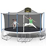 STARTOGOO 1000 LBS 16FT Trampoline with Basketball Hoop Safety Enclosure Net and Ladder, Outdoor Trampolines for Kids, Adults, Black