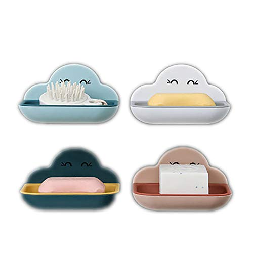 OMKMNOE Plastic Soap Dish, Soap Holder without Drilling Plastic Bathroom Modern Soap Basket Blue White Dark Blue Pink 4-Piece Soap Holder with Linen,Multi colored