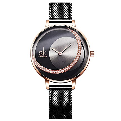 RORIOS Damen Uhren Analog Quarz Armbanduhren Minimalistisch Simulated Diamond Zifferblatt Mesh Band Mode Mädchen Armbanduhr