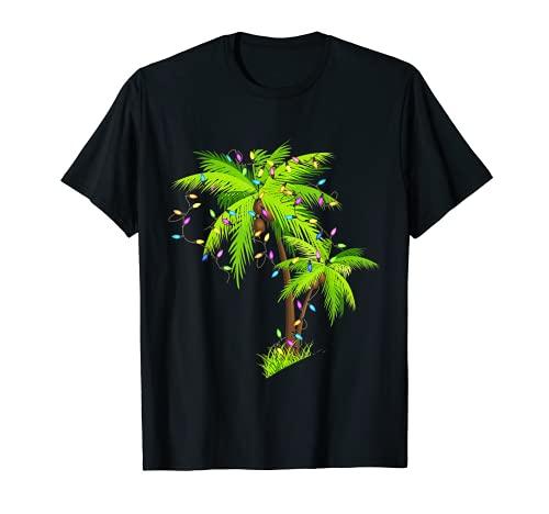 Palm Tree Beach - Luces de Navidad para regalo de Navidad Camiseta