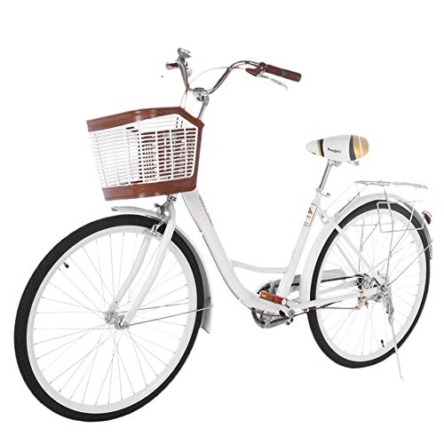 SrongM 26 Inch Beach Cruiser Bicycles for Women, Ladies Classic Retro Bike, Simple and Comfortable Bicycle (Athens White)