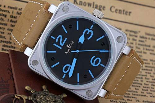 AGEGIERA New Mens Luxury Brand Automatische Selbstwind Mechanische Brown Lederband Big Bell 46mm Quadrat Silber Schwarz Limited Edition Uhr3