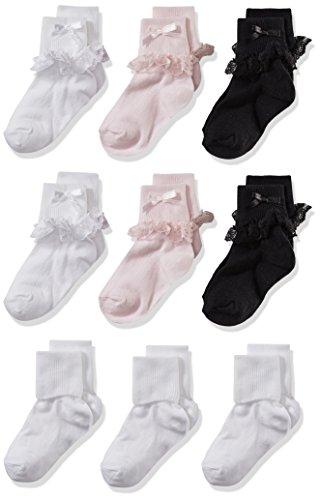 CHEROKEE girls Cherokee 9 Pack Turn Cuff Shorty Socks, Assorted, 2T-4T US