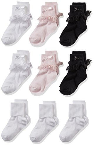Cherokee Girls' Little 9 Pack Turn Cuff Sock, assorted, 2T-4T