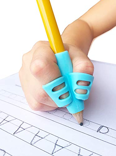 Bright Autism - Pencil Grips for Kids Handwriting, Pencil Holder for Kids, Handwriting Grip, Ergonomic Training Pencil Grip, Writing Tool for Toddlers, Preschoolers, Children (3 Pack)