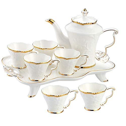 Teesets 6-teilige Tassen und Kaffeetablett Goldbesatz Nachmittagstee im europäischen Stil Tee-Trinkgeschirr Kaffeeset 8-teiliges Kaffee- und Teeservice aus glasiertem Porzellan für Party und