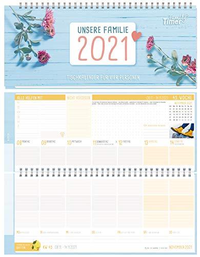 Family-Timer Wochen-Tischkalender 2021 im Quer-Format bis zu für 4 Personen | 1 Woche 2 Seiten | Wochenkalender 21 x 10,5 cm, Schreibtisch-Kalender mit Sprüchen | nachhaltig & klimaneutral