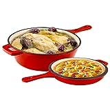 MATHOWAL 2 en 1 sartén de hierro fundido esmaltado de 11 pulgadas de doble propósito sin recubrimiento, horno holandés clásico de esmalte rojo, utensilios de cocina antiadherentes