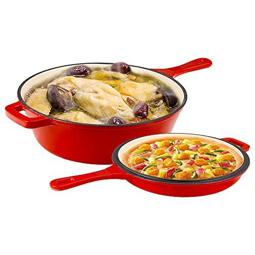 MATHOWAL 2 in 1 padella in ghisa smaltata da 11 pollici a doppio uso non rivestita, forno olandese classico smaltato rosso, pentole da cucina antiaderenti, adatte per 2-4 persone (rotonde)