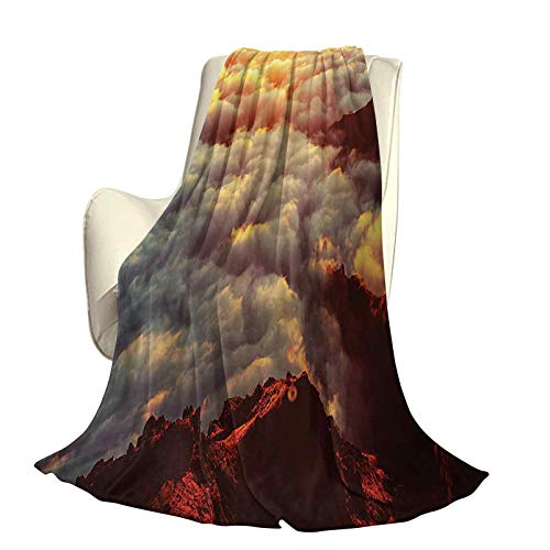 Clouds Fluffy plush soft comfortable warm blanketSunset on the Hill Tops above the Clouds Unusual Extreme Morning Glory Print Luxury air-conditioning duvet cover W70 x L84 Inch Orange White Brown