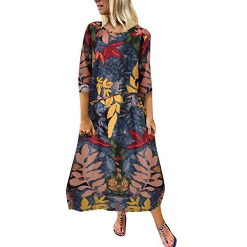Rosennie Kleid Damen Casual Locker Sommer Kleider Partykleider Ärmellos Langes Maxikleid Übergröße Kleid Vintage Boho Druck Damenkleider Strandkleider L-5XL