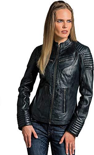 Coole Kurze Biker Damen Lederjacke LB01, Tan Wax, Große : L
