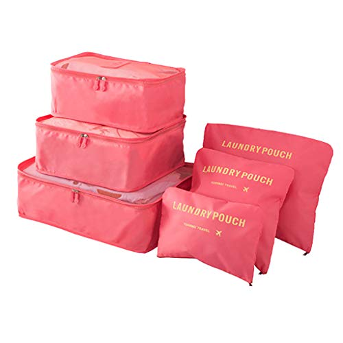 R-Cors 6pcs Travel Bags Packing Cubes, Best Value Suitcase Organiser, Compressible Luggage Cubes, Ideal for Holiday Baggage, Backpacking, Air Travel (Watermelon)