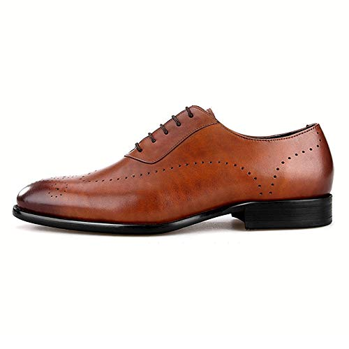 Herren Brogue Schuhe Schwarz Braun Echtes Leder Business Formal Oxfords Smart Dress Party Hochzeitsanzug Schuhe,Brown-42