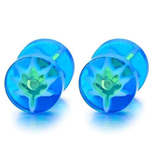 Hombre Mujer Azul Círculo Pendientes Verde Fuegos Artificiales Brillante, Acero Enchufe Falso Fake Cheater Plugs Gauges