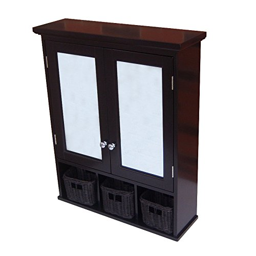 allen + roth 25-in x 30-in Ready-To-Assemble 2 Door Bathroom Wall Wood Medicine Cabinet, Espresso