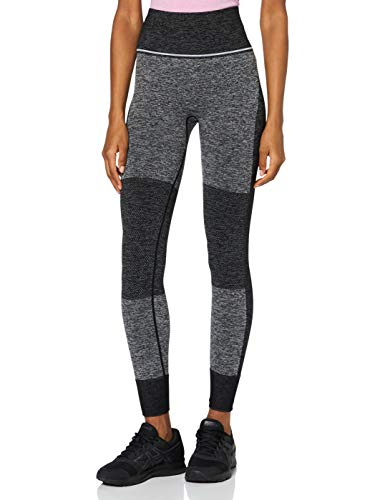 Amazon-Marke: AURIQUE Damen Sportleggings mit hohem Bund und Colour-Block-Design, Schwarz (Black), 38, Label:M