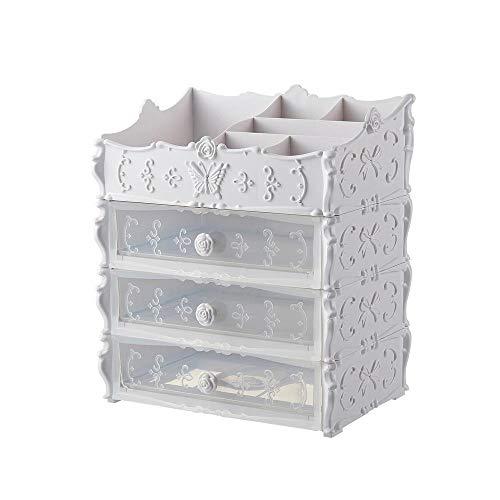 LOVE-STORAGE Schublade Kosmetische Aufbewahrungsbox Kunststoffregal Multifunktions-Aufbewahrungsbox Für Arbeitszimmer,Kleiderschrank,Tisch,Schlafzimmer 3 Layers transparent powder-25.5 * 17 * 30.5cm
