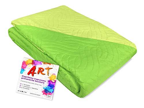 Tex family Couvre-lit matelassé Art couleur unie bicolore – 1 place, vert