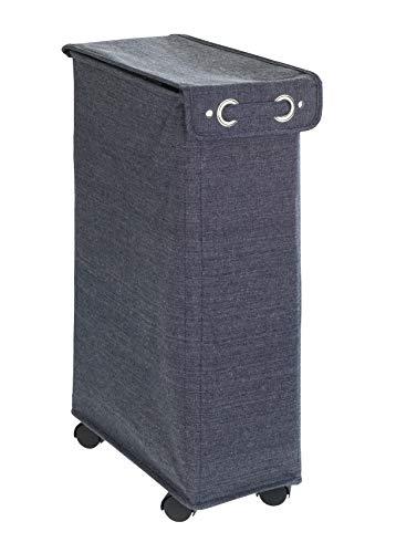 Wenko Corno Prime Azul Cubo de lavandería Cesto con Tapa Capacidad 43L, poliéster, Azul Oscuro, 40x 18.5x 60cm