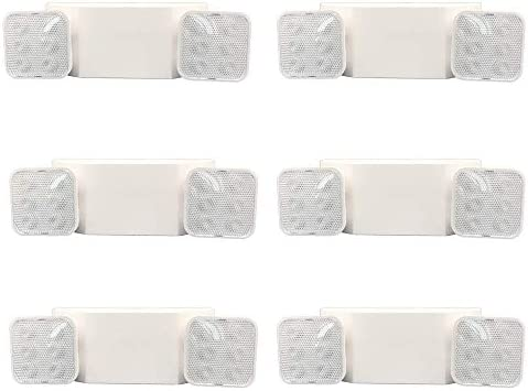 AmazonCommercial LED Emergency Light UL Certified 6 Pack Adjustable Two Heads Wall Mount White product image