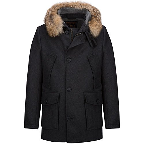 WOOLRICH WOCPS2375 Man's Wool Double Artic Parka Limited Edition Storm System Wool Loro Piana (XL, GREY )
