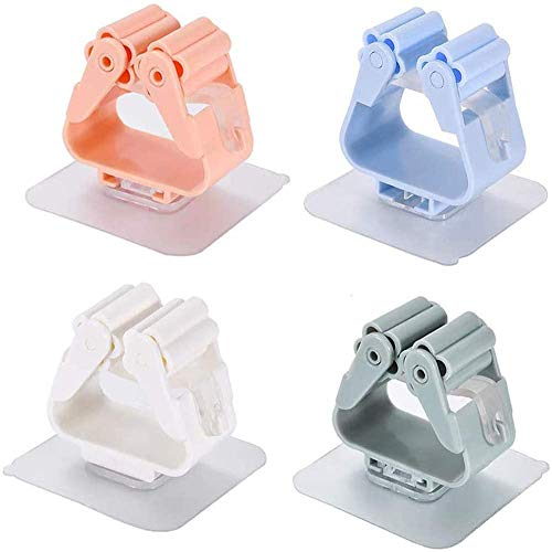8 Pezzi Mop Holder, BETOY Multifunzione Portascope da Muro, Autoadesive Portascope, Supporto per scopa per Cucina Bagno e Giardino